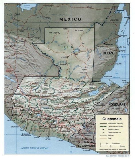 General map of Guatemala