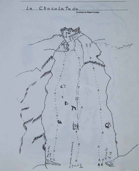 Map of the La Chocolatada section of Cerro Quemado. Drawn by Miguel Arango.