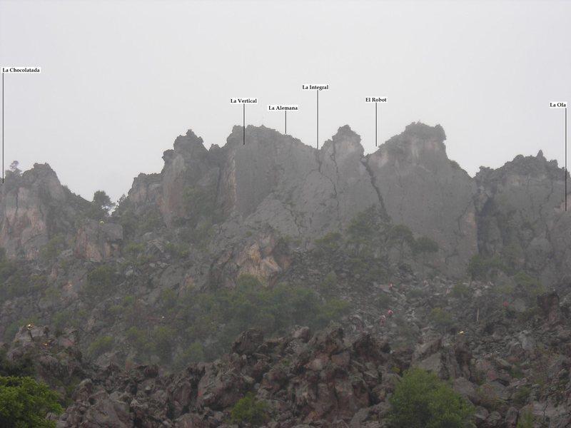 Approximate location for the different areas in Cerro Quemado.