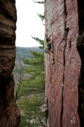 Rock Climbing Photo: Matt gets into the crux of Flake Route... with ext...