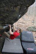 Rock Climbing Photo: Jared on Back in the Saddle V6+ version w/o Heel C...