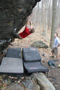 Rock Climbing Photo: Jared on Back in the Saddle V6+ version w/o Heel C...