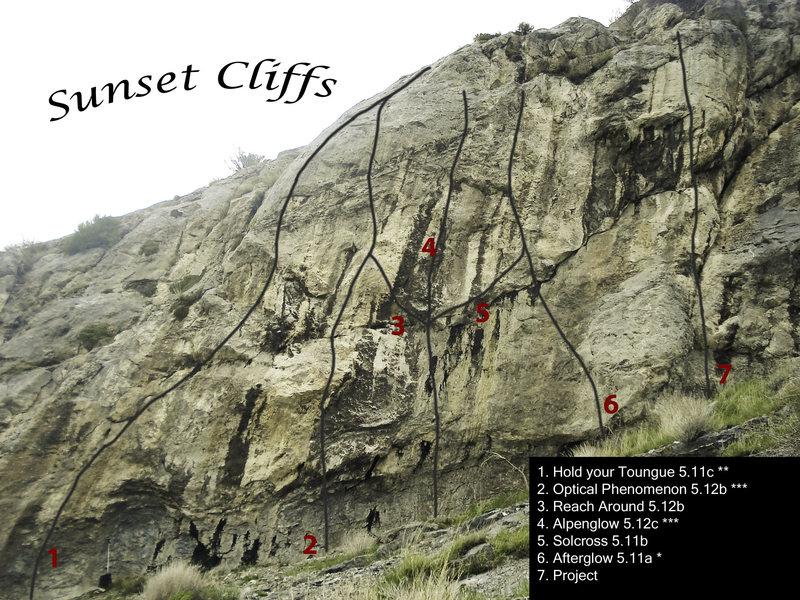 Rock Climbing Photo: Sunset Cliffs Topo