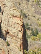 Rock Climbing Photo: The arete of Left Out (taken from up the canyon).