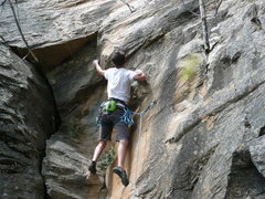 "Rock Climbing Photo: Me on the lower ""crux"" of Initiation (5...."