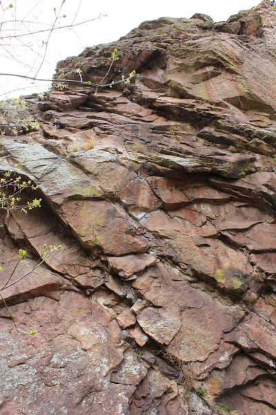 Rock Climbing Photo: The start on King's X (chalk in the center) then f...