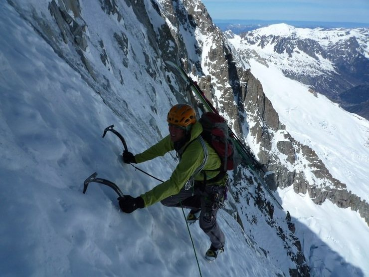Colin Haley photo of Nils Nielsen on les Droites 3/'11.