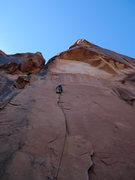 Rock Climbing Photo: Nearing the upper bolt and left traverse, the crux...