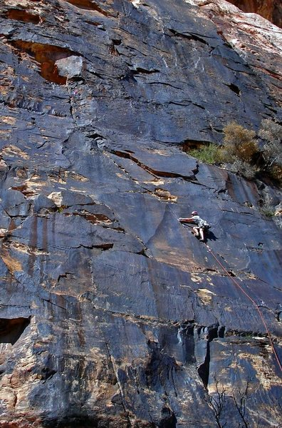 Greg Jackson pulling through the crux on 'Mushroom People', Brass Wall