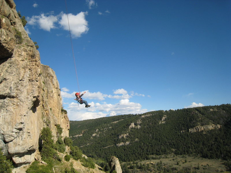 Lucas swinging in the Killer Cave, WY at age 4.