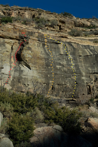 Derrydale Cliff:<br> Red - Exilis Dihedral (5.9)<br> Orange - Mammoth Poaching (5.10c)<br> Yellow - Grand Old Pachyderm (5.9)