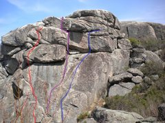 Rock Climbing Photo: Blue line is Groovy, Purple line is Twin Cracks an...