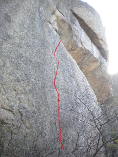 Rock Climbing Photo: view from the left of the route, cant see crack we...