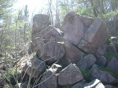 Rock Climbing Photo: This jumble of boulders faces the lake. Behind the...