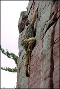 Rock Climbing Photo: High steppin' after the last gear is placed... en ...