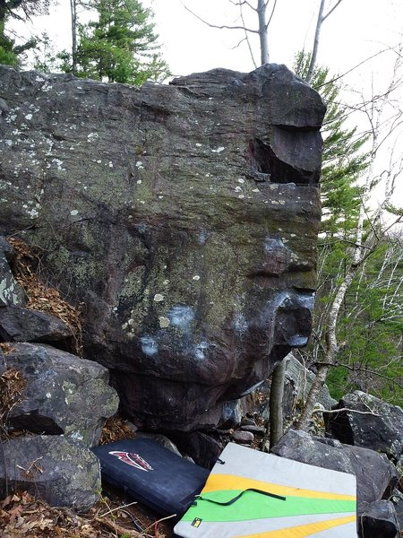Rock Climbing Photo: Starts on the 2 low ticked crimps, straight up fac...