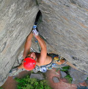 Rock Climbing Photo: Mark K. cruising up Mayflower August 2010