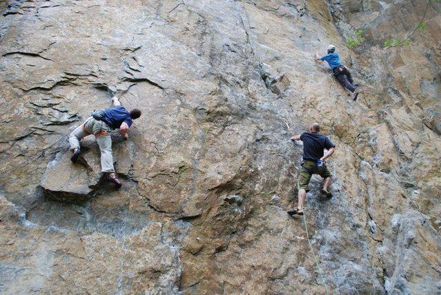 Rock Climbing Photo: Michael Davis working the moves of Flippin' the Bi...
