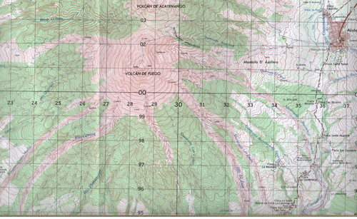 Published by the Instituto Geographico Nacional. Map name: Alotenango, Reference number: HOJA 2059 III. Contour intervals 20 meters. This image centers Fuego on the map. It also includes the town of Alotenango.<br>