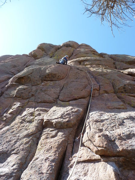 """Rock Climbing Photo: At the good rest on the """"mantle"""" ledge. ..."""