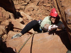 Rock Climbing Photo: Deb tops out on her 1st desert spire.