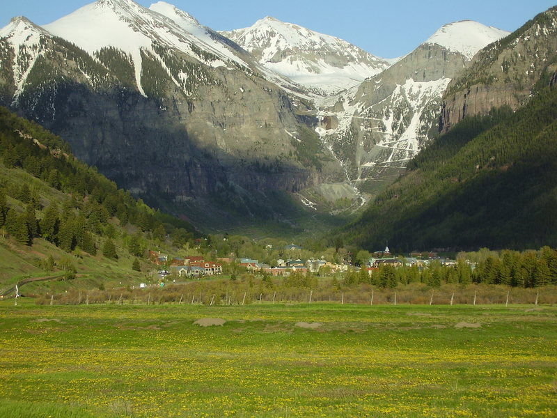 Telluride is located in the upper San Miguel River Canyon nestled in the San Juan Mtns.