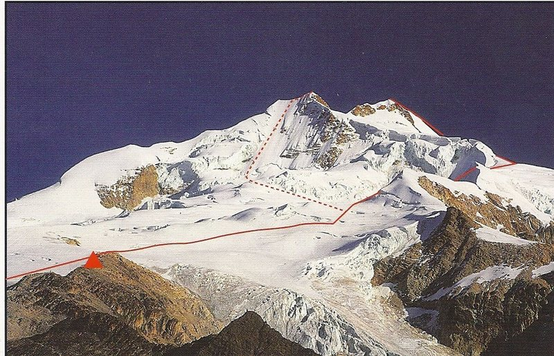 This is a scan of a postcard showing the Normal Route (solid red line)and the french Route (broken red line). The red triangle is the refugio. The normal route appears deceptively flat in this image!<br>