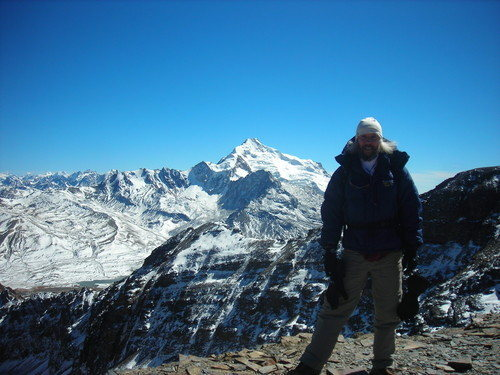 At the top of Chacaltaya with beautiful Huayna Potosi as a backdrop.