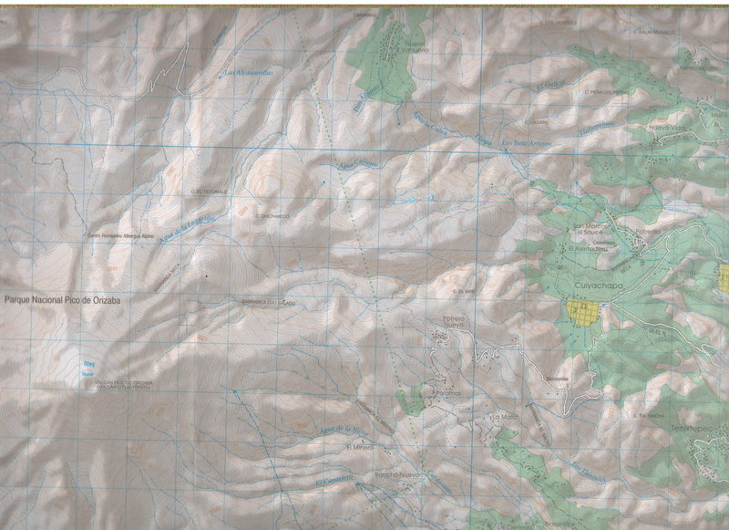 Orizaba, Mexico: Published by INEGI of Mexico. Map name: Coscomatepec de Bravo, Reference E14B46. Primary contour intervals are at 20 meters. This section of the map includes most of Orizaba and the Jamapa Glacier.<br>