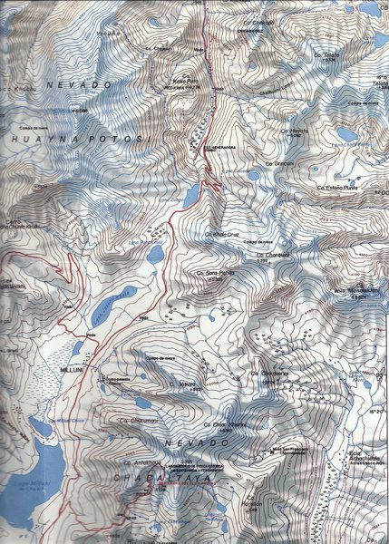 Potosi @POUND@01: Map name: Cordillera Real o de la Paz - Sur. Primary contour intervals are at 50 meters.