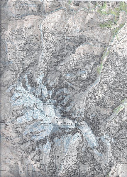 Illimani #01: Published by the Club Alpino Aleman 1990. Map name: Cordillera Real Sud (Illimani. Primary contour intervals are at 40 meters.