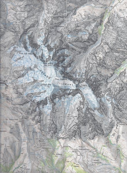 Illimani @POUND@02: Published by the Club Alpino Aleman 1990. Map name: Cordillera Real Sud (Illimani. Primary contour intervals are at 40 meters.