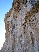 Rock Climbing Photo: David Merin just before clipping the anchors on th...
