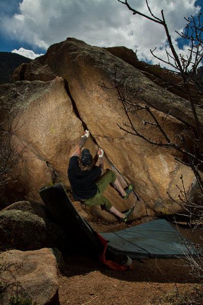 Bouldering shot taken by Tim Banfield