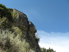 A wider view of the boulder at the crux of the route.