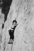 Rock Climbing Photo: Noreen Flynn on the very thin section leading up t...