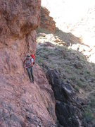 Rock Climbing Photo: Approach the pinnacle by passing a short section o...