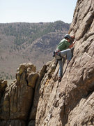 Rock Climbing Photo: Leading Sunup (5.8) on the Lower Sun Tower in Unaw...