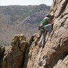 Leading Sunup (5.8) on the Lower Sun Tower in Unaweep Canyon.
