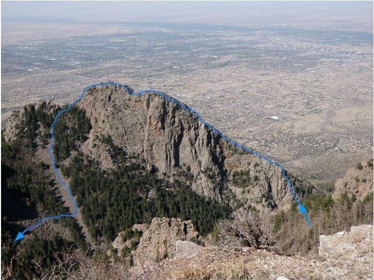 Northwest Ridge route, descending via the talus slope, to the la Luz trail (as seen from the upper la luz).