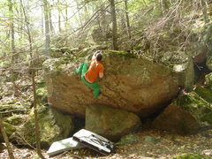 Rock Climbing Photo: working up the nerve on Northern Blind Terror V1