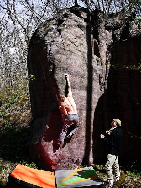 First move, amazing pillar, May 2011.  Photo Paul.