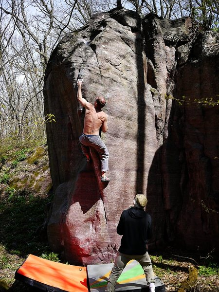Rock Climbing Photo: Higher up on this superb problem, May 2011.  Photo...