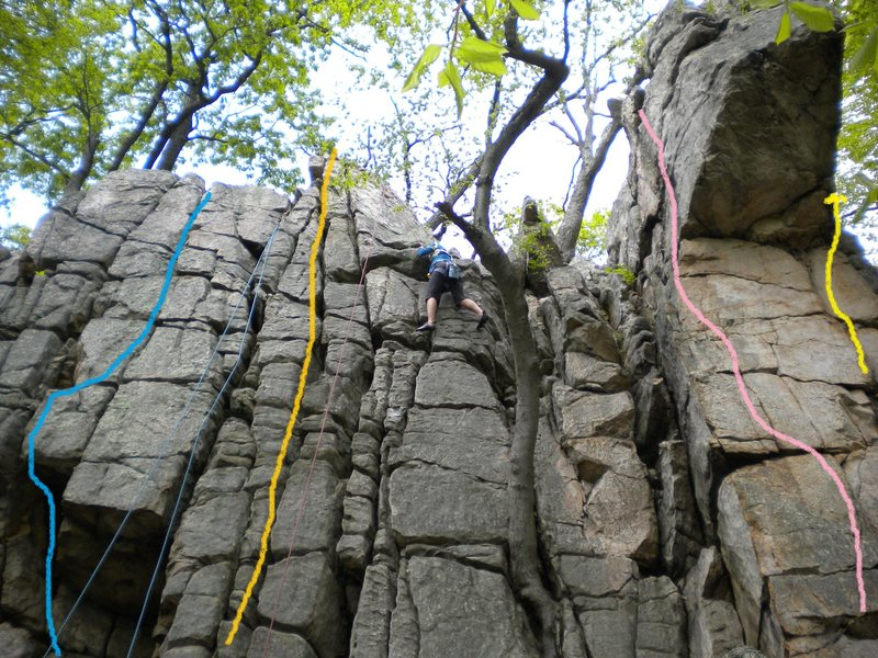 Rock Climbing Photo: Left to Right...Blue line = Time of the Prophets (...