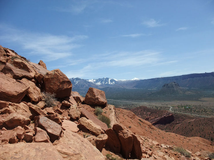 Rock Climbing Photo: looking across Castle Valley to the La Sal mountai...