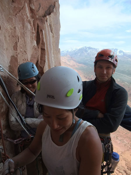 Joan and 2 climbers from Seattle on the spacious P3 belay ledge.