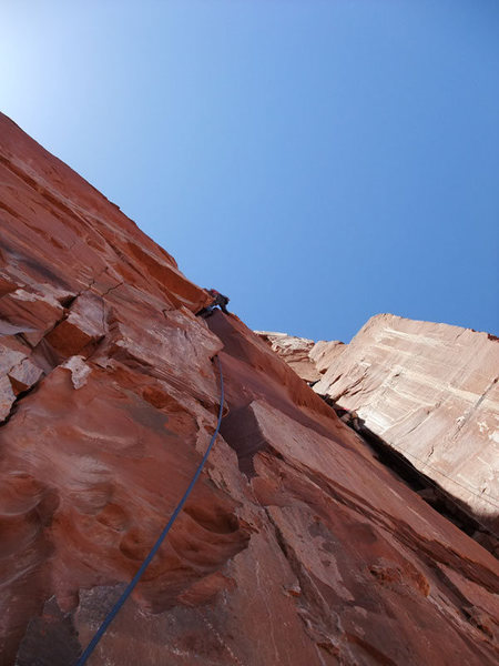 Rock Climbing Photo: Mike high up on P3