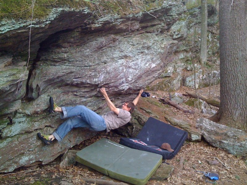 Big move to jug. This might be a tuffer move for shorter climbers. I'm almost fully extended.