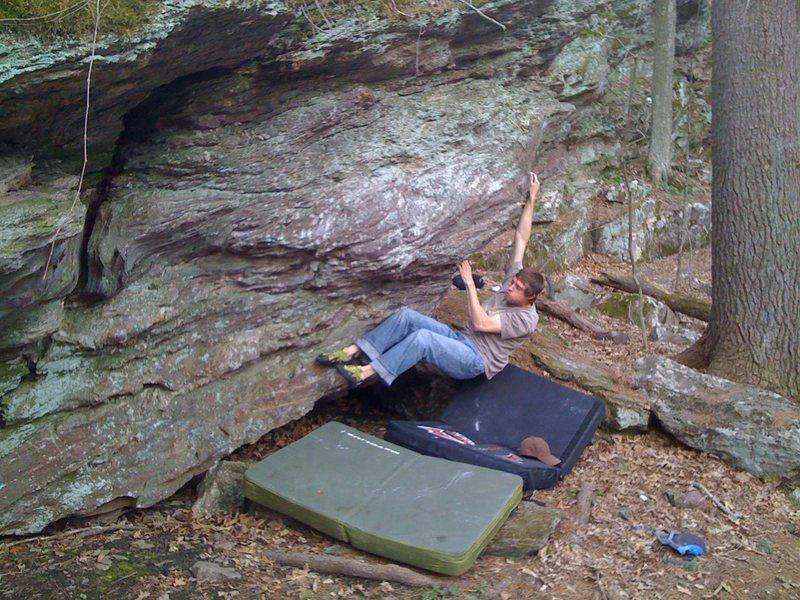 Rock Climbing Photo: Big move to gain arete