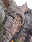 Rock Climbing Photo: Full length view of climb - note, start is the cra...